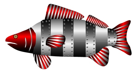 nimble: Mechanical robot fish isolated on white background -  vector illustration.