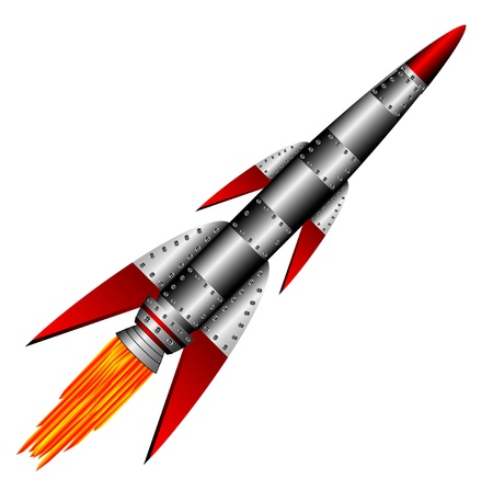 missiles: Starting military  rocket on white background - vector illustration.