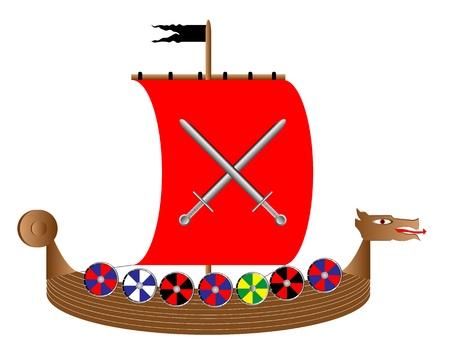 viking ship: Vector illustration of a drekar isolated on white background