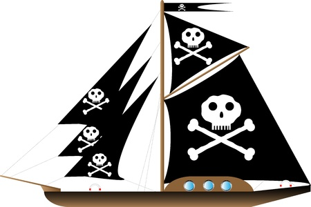 Pirate vessel on white background - vector illustration. Vector
