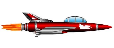 modern fighter: Combattente rosso aria isolato su sfondo bianco - vector Vettoriali
