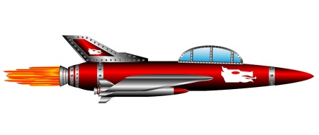 Red air fighter isolated on white background - vector Illustration