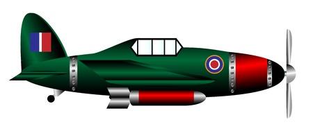 british army: British WW2 fighter isolated on white background