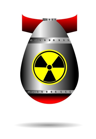 atomic symbol: Cartoon rocket bomb, falling isolated on white background