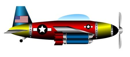 battle plane: Estados unidos avi�n de combate 2 � Guerra Mundial aislados sobre fondo blanco