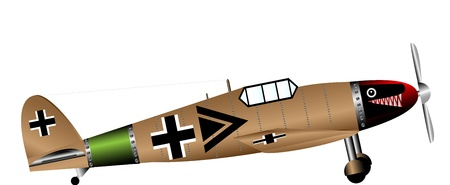 ww2: German WW2 fighter isolated on white background  Illustration