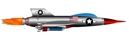 modern fighter: Isolato su sfondo bianco di caccia a reazione degli Stati Uniti Vettoriali