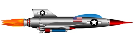 United states jet-fighter isolated on white background