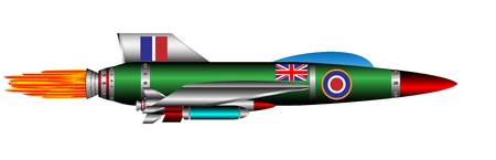 rocket bomb: British jet-fighter isolated on white background