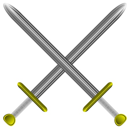 Steel swords on a white background Vector