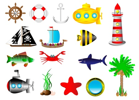 Set sea icon isolated on white background Stock Illustratie