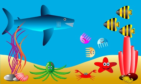 illustration of a sea life . Stock Vector - 10991177