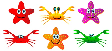 isilated: Set of crabs and starfish isilated on white background Illustration