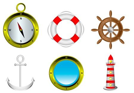 porthole: Sailing icons isolated on white background