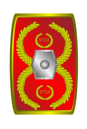Roman legionary shield isolated on white background