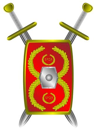 legion: Roman legionary shield and cross sword isolated on white background