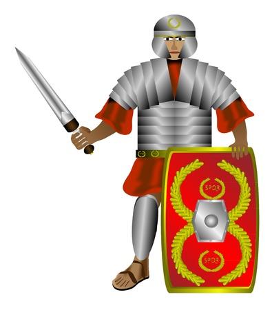 Legionnaire (Romeinse soldaat) met schild en zwaard op een witte achtergrond