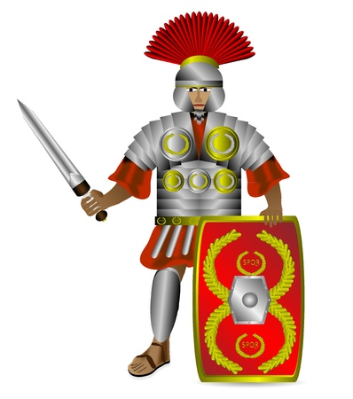 Roman centurion with shield and sword isolated on white background