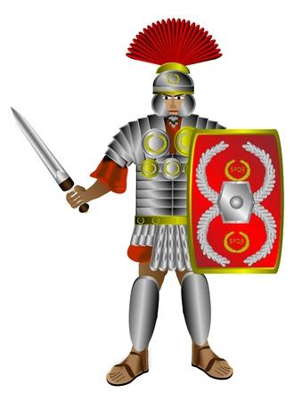 Centurione romano con scudo e spada isolato su sfondo bianco