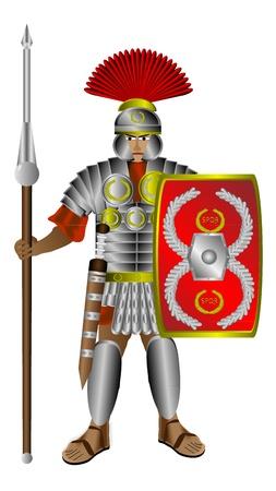 roman: Centurión romano con escudo y pilum aisladas sobre fondo blanco Vectores