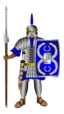 Legionnaire (Romeinse soldaat) met schild en lans op een witte achtergrond Vector Illustratie