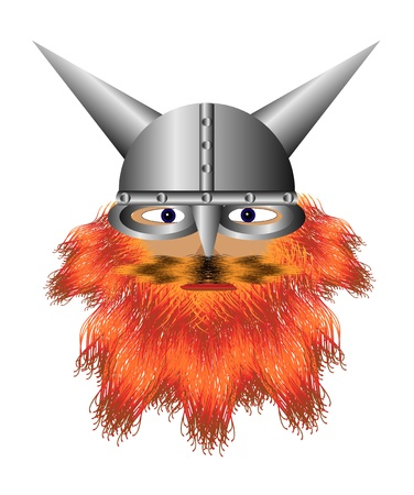 Viking in a helmet with a red beard on white  Vector