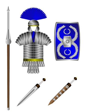 Armor and weapons of the Roman legionary isolated on white Stock Vector - 10991189