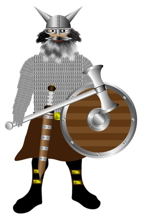 pillage: The fierce vikings in armor with a shield, sword and ax on white