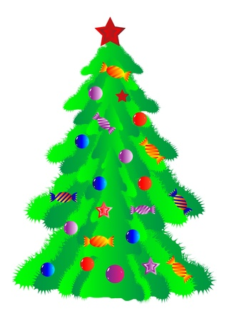 The Christmas fur-tree decorated with sweets and balls - vector Illustration