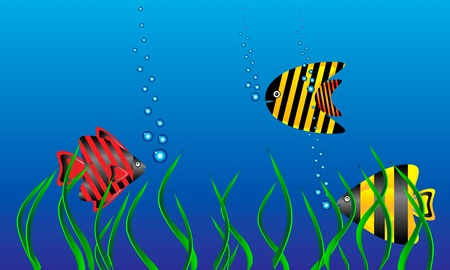 The marine life - tropical fish in green algae. Vector illustration. Illustration