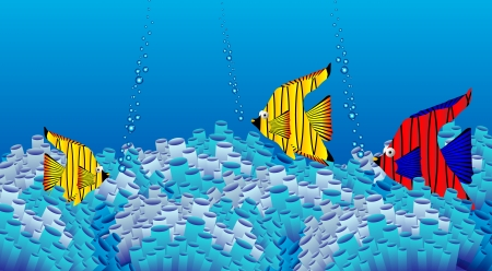 Vector illustration of the sea bottom: corals and fish Vector