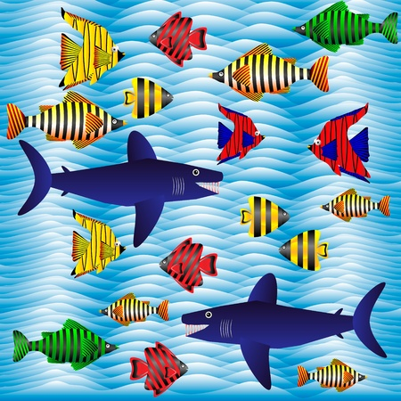 Background with tropical fish - vector illustration . Vector