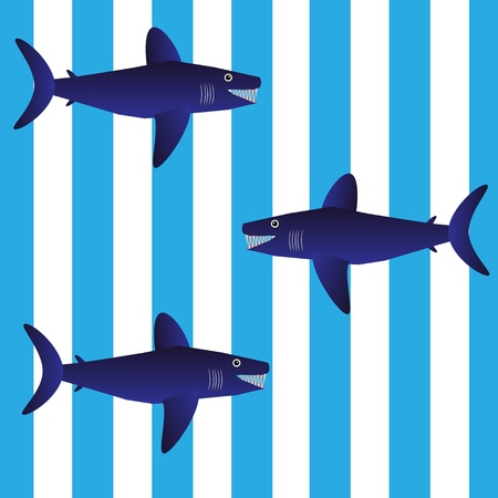 Background with sharks - vector illustration . Stock Vector - 11087128