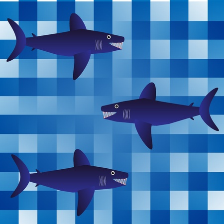 Background with sharks - vector illustration . Stock Vector - 11087156