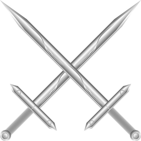 cutting edge: Two crossed swords isolated on white background - vector illustration