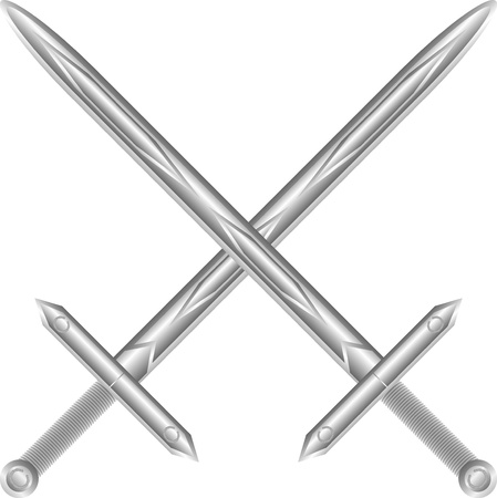 fighting styles: Two crossed swords isolated on white background - vector illustration