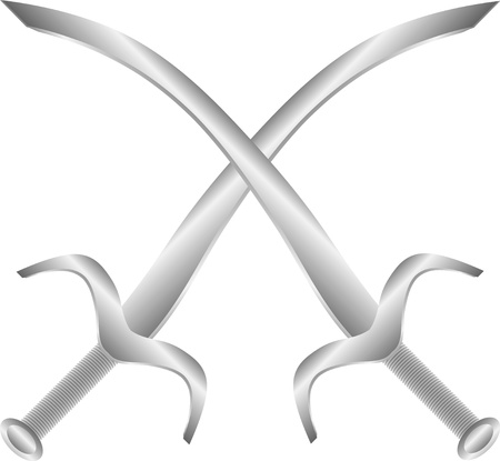 Two crossed arabic swords isolated on white background - vector illustration Vector