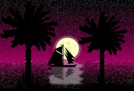 Vector illustration of tropical beach night . Vector