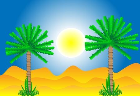 Sahara desert by day - vector illustration. Stock Vector - 11087217