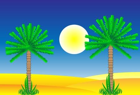 Sahara desert by day - vector illustration. Stock Vector - 11087215