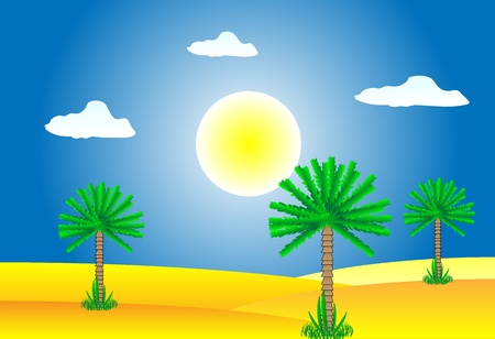 Sahara desert by day - vector illustration. Stock Vector - 11087226