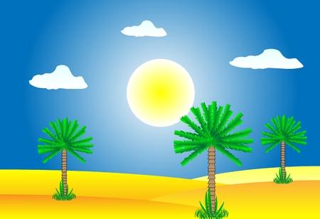 Sahara desert by day - vector illustration. Stock Vector - 11087226