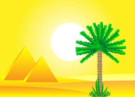 Sahara desert with egyptian pyramids by day - vector illustration. Stock Vector - 11087193