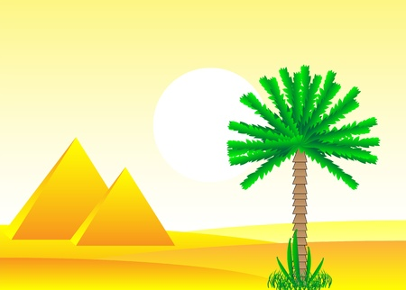 Sahara desert with egyptian pyramids by day - vector illustration. Stock Vector - 11087204