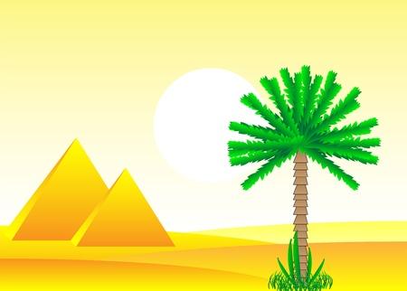 Sahara desert with egyptian pyramids by day - vector illustration. Stock Vector - 11087204