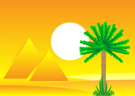 Sahara desert with egyptian pyramids by day - vector illustration. Stock Vector - 11087195