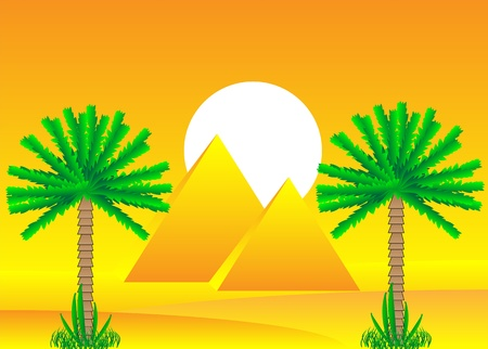 Sahara desert with egyptian pyramids by day - vector illustration. Vector
