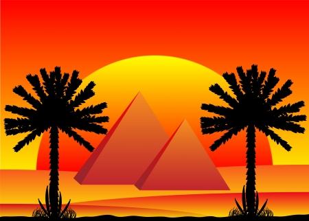 Sahara desert with egyptian pyramids at sunset - vector illustration. Vector