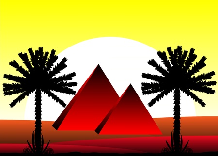 Sahara desert with egyptian pyramids at sunset - vector illustration. Stock Vector - 11087175