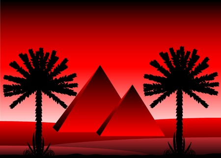 Sahara desert with egyptian pyramids after sunset - vector illustration. Stock Vector - 11087176